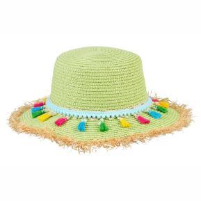 Souza Chrissy Ψάθινο Lime Καπέλο με φουντίτσες
