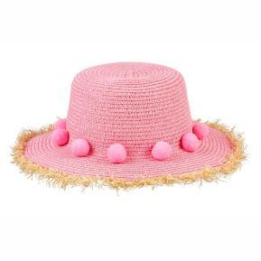 Souza Ροζ Ψάθινο Καπέλο με ponpoms.