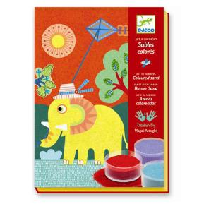 Djeco Σχεδιάζω με χρωματιστή σκόνη 'Ελεφαντάκι' (08660)