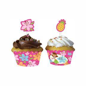 Συσκευασία για cupcake - Pink Luau Fun 12τμχ