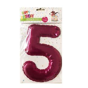 Happy Birthday Ballon Sticker 2 in 1 XL ροζ 19cm No5
