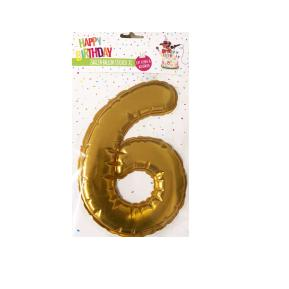 Happy Birthday Ballon Sticker 2 in 1 XL χρυσό 19cm No6