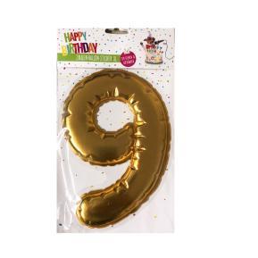 Happy Birthday Ballon Sticker 2 in 1 XL χρυσό 19cm No9