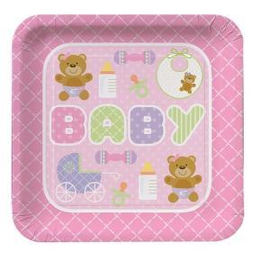 Πιατάκια για πάρτυ - Teddy Baby Pink 8τμχ