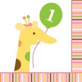 Χαρτοπετσέτες για πάρτυ - Happy first birthday (μικρές)
