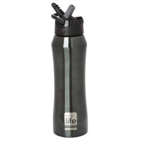 Ecolife Θερμός ανοξείδωτος μαύρος με καλαμάκι 550ml Μαύρο