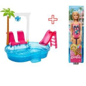 Εξωτική Πισίνα Barbie & Κούκλα Barbie με μαγιώ (combo pack)
