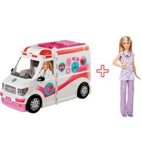 Barbie Κινητό Ιατρείο Ασθενοφόρο & Barbie Νοσοκόμα (combo pack)