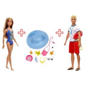 Ken Ναυαγοσώστης & Κούκλα Barbie με μαγιώ & Barbie Σετ Αξεσουάρ (combo pack)