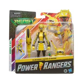 Hasbro Power Rangers Beast Morphers Yellow Ranger and Morphin Jax Beast Bot Figure (E7270)