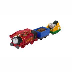 Fisher Price Thomas The Train - Μηχανοκίνητα Τρένα Με 2 Βαγόνια Helpful Harvey