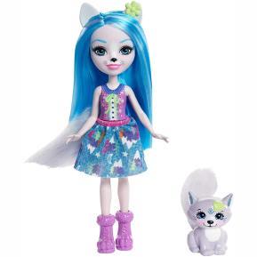 Enchantimals - Κούκλα & Ζωάκι Φιλαράκι - Νέοι Φίλοι Winsley Wolf & Trooper (FNH22)