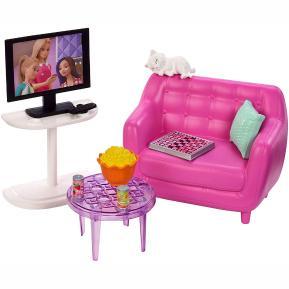 Barbie Έπιπλα Εσωτερικού Χώρου - Καναπές με τηλεόραση (FXG33)