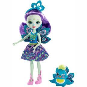 Enchantimals Κούκλα & Ζωάκι Φιλαράκι Patter Peacock & Flap