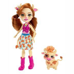 Enchantimals - Κούκλα & Ζωάκι Φιλαράκι - Νέοι Φίλοι Cailey Cow & Curdle (FNH22)