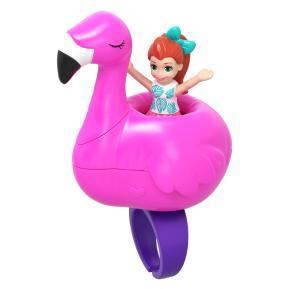 Mattel Polly Pocket Mini - Mini Αξεσουάρ Δαχτυλίδι με κούκλα Flamingo (GHL06)