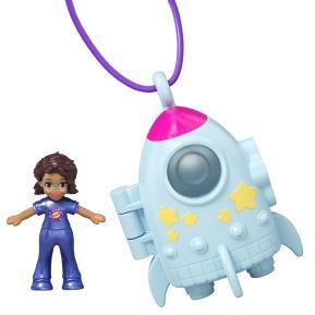 Mattel Polly Pocket Mini - Mini Αξεσουάρ Μενταγιόν με κούκλα Πύραυλος (GHL06)