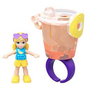Mattel Polly Pocket Mini - Mini Αξεσουάρ Δαχτυλίδι με κούκλα Αναψυκτικό (GHL06)