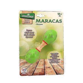 Μικρές Ξύλινες Μαράκες Πράσινες με πασχαλίτσες 15cm (376996)