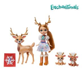 Mattel Enchantimals - Κούκλα & Ζωάκια Φιλαράκια Rainey Reindeer , Marathon, Jogger & Gallop