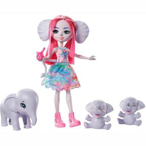 Mattel Enchantimals - Κούκλα & Ζωάκια Φιλαράκια Esmeralda Elephant, Graceful, Prunie & Mammoth