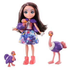 Mattel Enchantimals - Κούκλα & Ζωάκια Φιλαράκια Ofelia Ostrich, Rapid, Feathers & Flapper