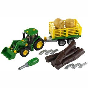 Klein John Deere Tractor with Wood and Haycart Trailer 3906
