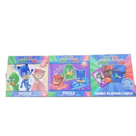 PJ Masks - Σετ παιχνιδού με κάρτες  και 2 παζλ 24 κομματιών-0