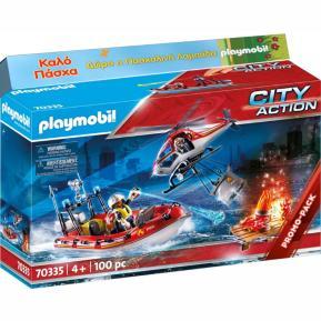 Λαμπάδα Playmobil  Πυροσβεστικό σκάφος και ελικόπτερο