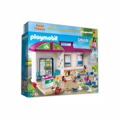 Playmobil Κτηνιατρική Κλινική-Βαλιτσάκι (70146) & Λαμπάδα-0