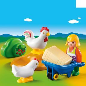 Playmobil 1 2 3 Αγρότισσα με κοτούλες