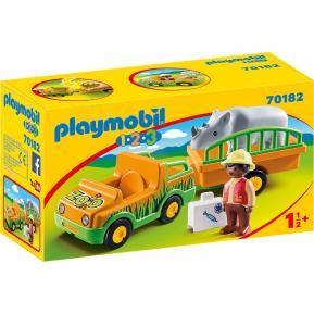 Playmobil 1 2 3 Όχημα ζωολογικού κήπου με ρινόκερο (70182)