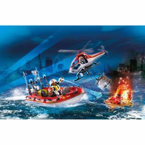Playmobil Πυροσβεστικό σκάφος και ελικόπτερο