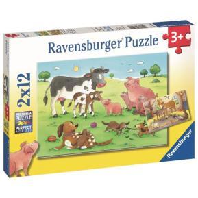 Ravensburger Παζλ 2x12 τμχ Οικογένειες Ζώων