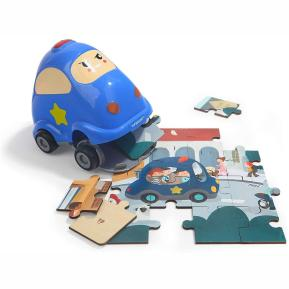 Top Bright Wooden Puzzles in Police Car (130908)