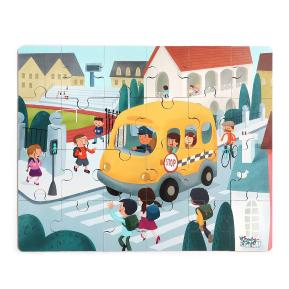 Top Bright Wooden Puzzles in School Bus (130909)