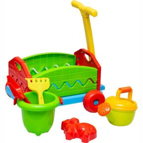 Outdoor active pull-along trolley with bucket set