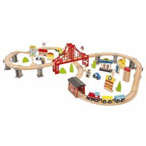 Eva Toys Ξύλινο Τρένο με γραμμές 70τμχ. W04C073