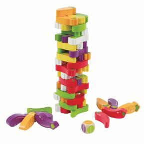 Eva Toys Ξύλινος Πύργος ισορροπίας με 55 τμχ Τουβλάκια Λαχανικά W13D078